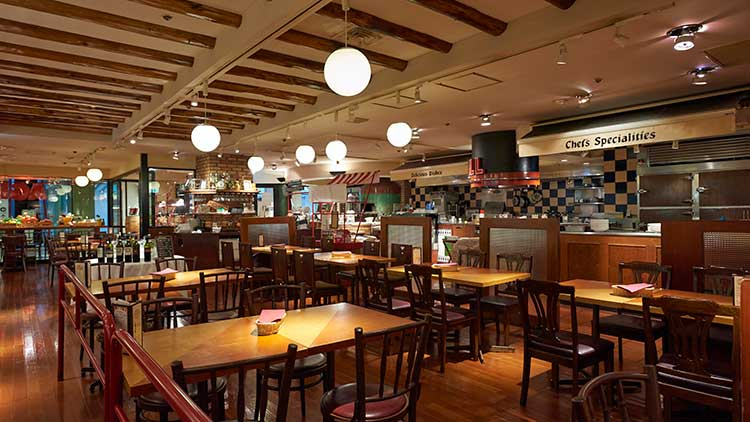 マーケットレストランAGIO サンシャインアルパ店の内観です