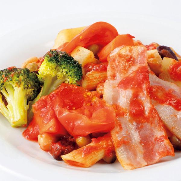 トマトソースで食べる!6種野菜とペンネ