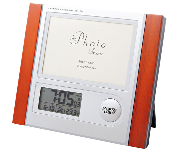 Woodmax フォトフレーム電波時計(P021-014)