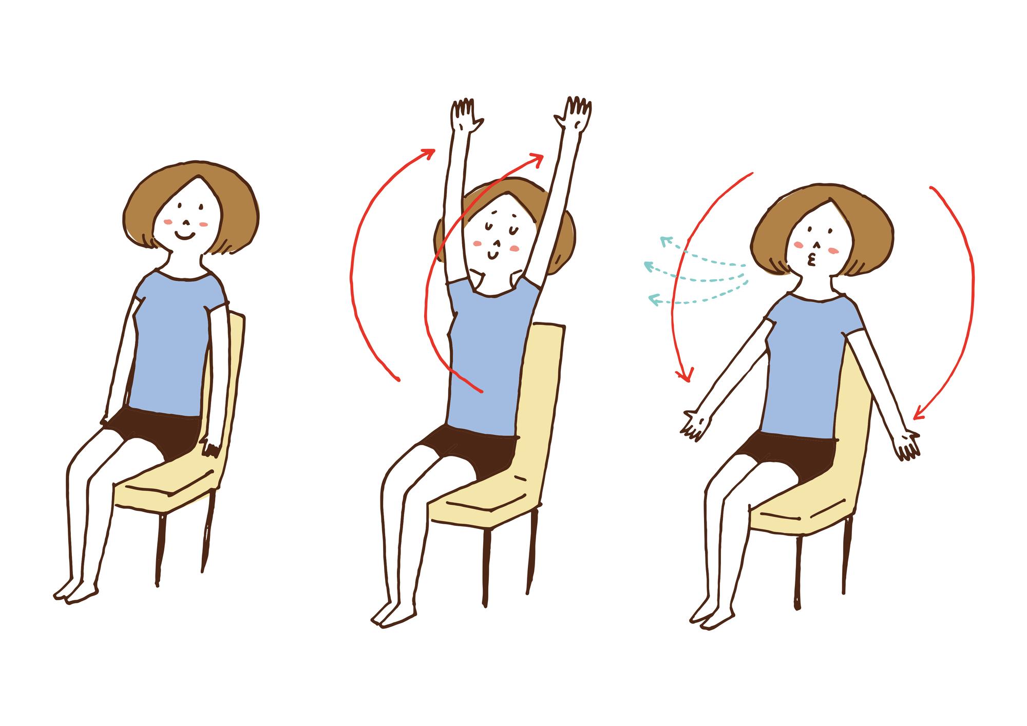 椅子の上でのストレッチ