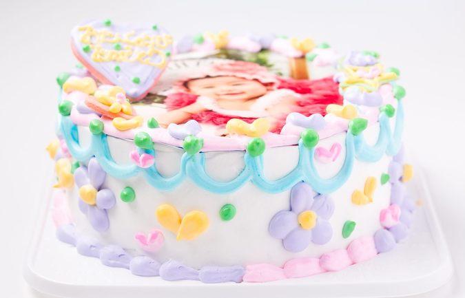 赤ちゃんの写真ケーキ