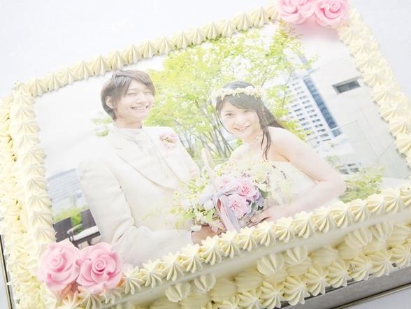 結婚式の写真ケーキ