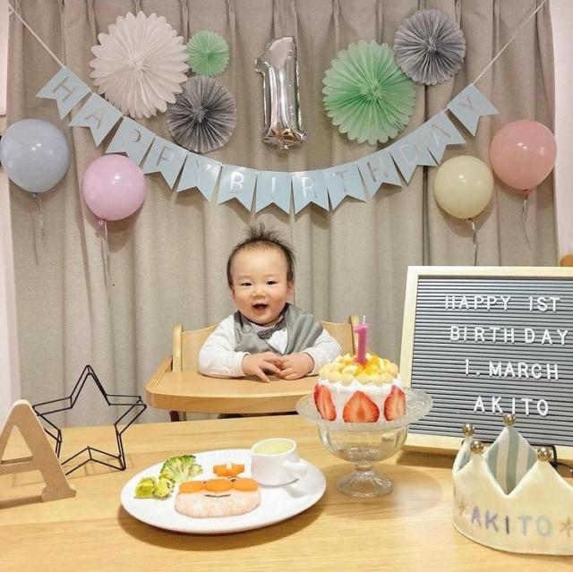 sao_hanaさんの1歳誕生日飾り付け