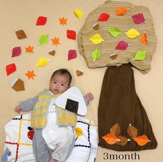 honami0923さんの秋の寝相アート