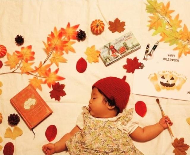 mie___ppleさんの秋の寝相アート