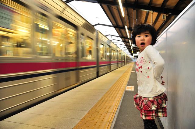 電車と子ども